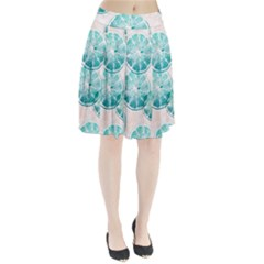 Turquoise Citrus And Dots Pleated Skirt