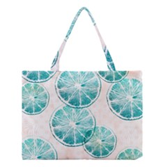 Turquoise Citrus And Dots Medium Tote Bag