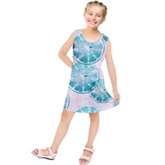 Turquoise Citrus And Dots Kids  Tunic Dress