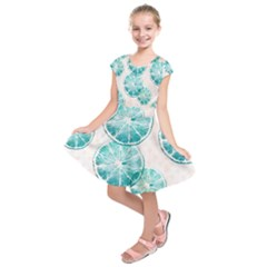 Turquoise Citrus And Dots Kids  Short Sleeve Dress