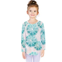 Turquoise Citrus And Dots Kids  Long Sleeve Tee