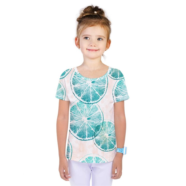 Turquoise Citrus And Dots Kids  One Piece Tee