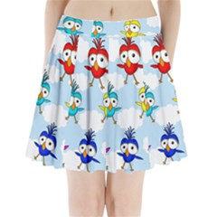 Cute Colorful Birds  Pleated Mini Skirt