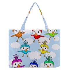 Cute Colorful Birds  Medium Zipper Tote Bag