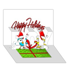 Cute Xmas Birds Boy 3d Greeting Card (7x5)