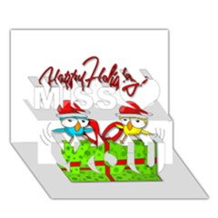 Cute Xmas birds Miss You 3D Greeting Card (7x5)