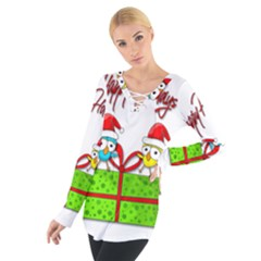 Cute Xmas birds Women s Tie Up Tee
