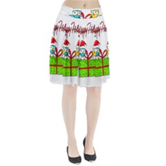 Cute Xmas Birds Pleated Skirt