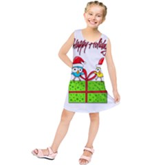 Cute Xmas Birds Kids  Tunic Dress