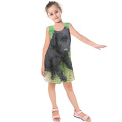 Curly Coated Retriever Puppy Kids  Sleeveless Dress