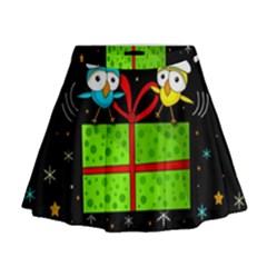 Cute Christmas birds Mini Flare Skirt