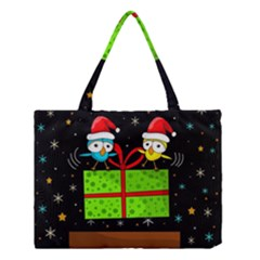 Cute Christmas birds Medium Tote Bag