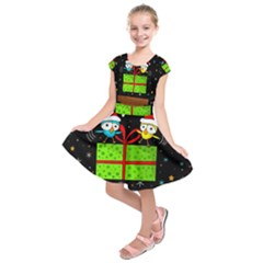 Cute Christmas Birds Kids  Short Sleeve Dress