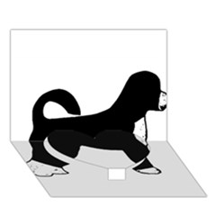 Portugese Water Dog Color Silhouette Heart Bottom 3D Greeting Card (7x5)