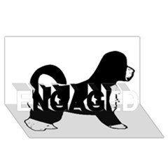 Portugese Water Dog Color Silhouette ENGAGED 3D Greeting Card (8x4)