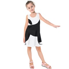 Portugese Water Dog Color Silhouette Kids  Sleeveless Dress