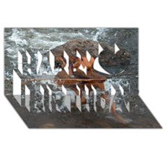 Vizsla Fetching In Water Happy Birthday 3D Greeting Card (8x4)