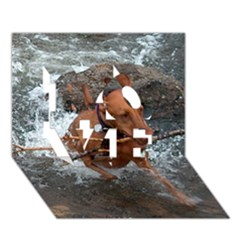 Vizsla Fetching In Water LOVE 3D Greeting Card (7x5)