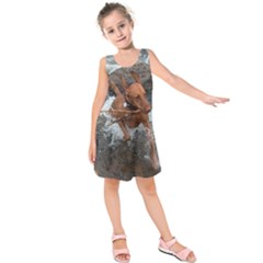 Vizsla Fetching In Water Kids  Sleeveless Dress