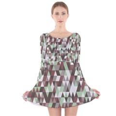 Pattern Triangles Random Seamless  Long Sleeve Velvet Skater Dress