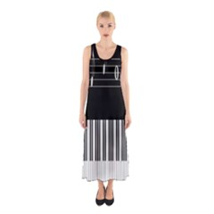 Piano Keyboard With Notes Vector Sleeveless Maxi Dress