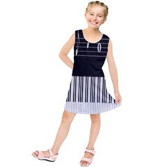 Piano Keyboard With Notes Vector Kids  Tunic Dress