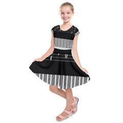 Piano Keyboard With Notes Vector Kids  Short Sleeve Dress