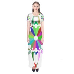 Prismatic Flower Silhouette Vector Short Sleeve Maxi Dress