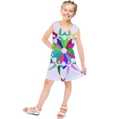 Prismatic Flower Silhouette Vector Kids  Tunic Dress