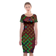 Psychedelic Abstract Swirl Classic Short Sleeve Midi Dress