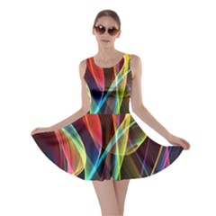 Rainbow Ribbon Background Skater Dress