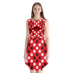 Red & Black Polka Dot Pattern Sleeveless Chiffon Dress