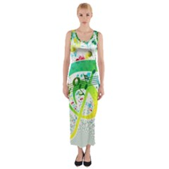 Points Circle Music Pattern Fitted Maxi Dress