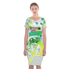 Points Circle Music Pattern Classic Short Sleeve Midi Dress