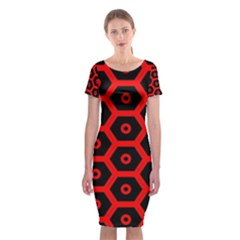 Red Bee Hive Texture Classic Short Sleeve Midi Dress