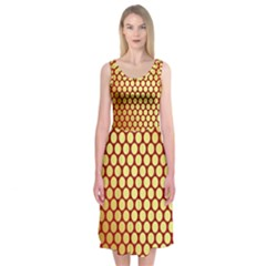 Red And Gold Effect Backing Paper Midi Sleeveless Dress