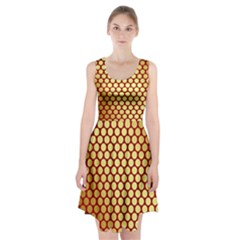 Red And Gold Effect Backing Paper Racerback Midi Dress
