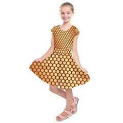 Red And Gold Effect Backing Paper Kids  Short Sleeve Dress