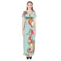 Seahorse Seashell Starfish Shell Short Sleeve Maxi Dress