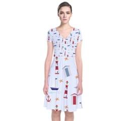 Seaside Beach Summer Wallpaper Short Sleeve Front Wrap Dress