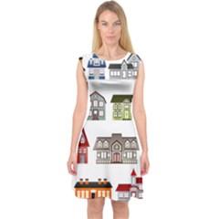 Simple Houses Vector Clipart Capsleeve Midi Dress