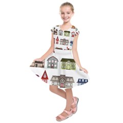 Simple Houses Vector Clipart Kids  Short Sleeve Dress