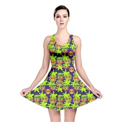 Smiley Background Smiley Grunge Reversible Skater Dress