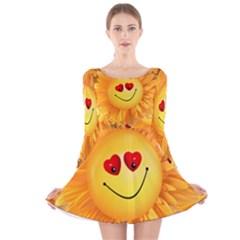 Smiley Joy Heart Love Smile  Long Sleeve Velvet Skater Dress