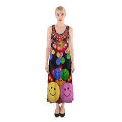 Smiley Laugh Funny Cheerful Sleeveless Maxi Dress
