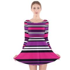 Stripes Colorful Background Long Sleeve Velvet Skater Dress