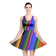Strip Colorful Pipes Books Color Reversible Skater Dress