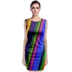 Strip Colorful Pipes Books Color Classic Sleeveless Midi Dress