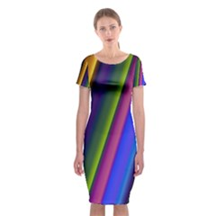 Strip Colorful Pipes Books Color Classic Short Sleeve Midi Dress