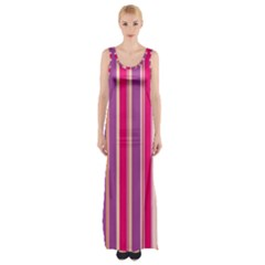 Stripes Colorful Background Pattern Maxi Thigh Split Dress